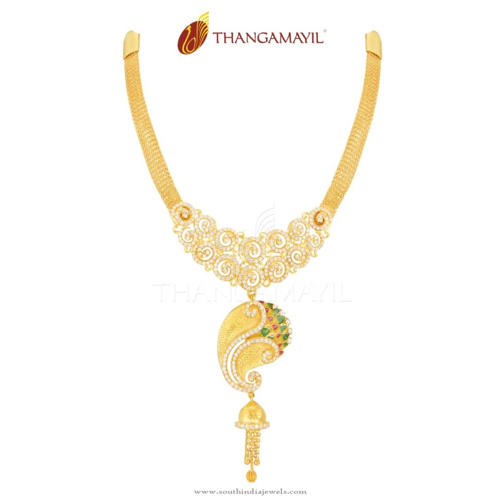 Gold Peacock Necklace from Thangamayil Jewellery