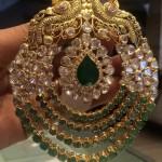 Gold Peacock Polki Pendant