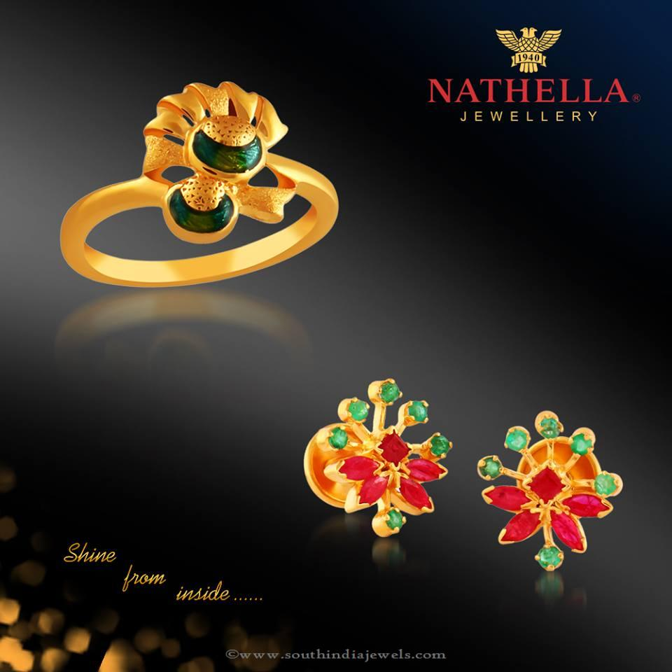 Gold Rings and Earrings from Nathella Jewellery