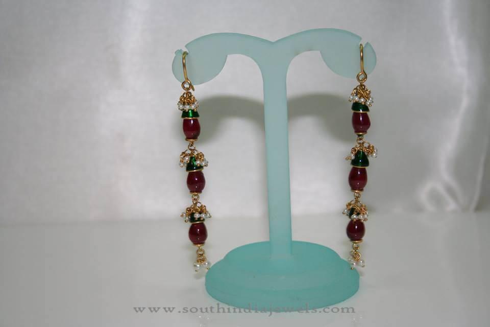 Gold Ruby Chandlier Earrings