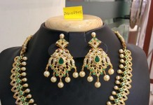 Imitation Green Stone Necklace Set from Temple Collections