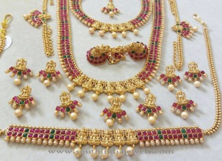 Imitation Ruby Emerald Bridal Jewellery Sets