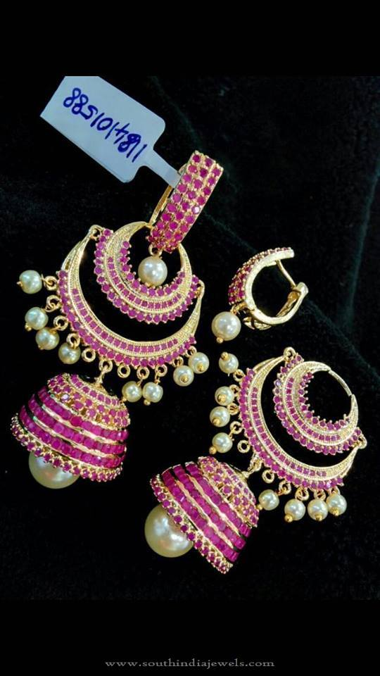 Layered Ruby Jhumka Earrings
