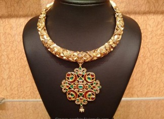 Gold Nakshi Work Kanti Necklace