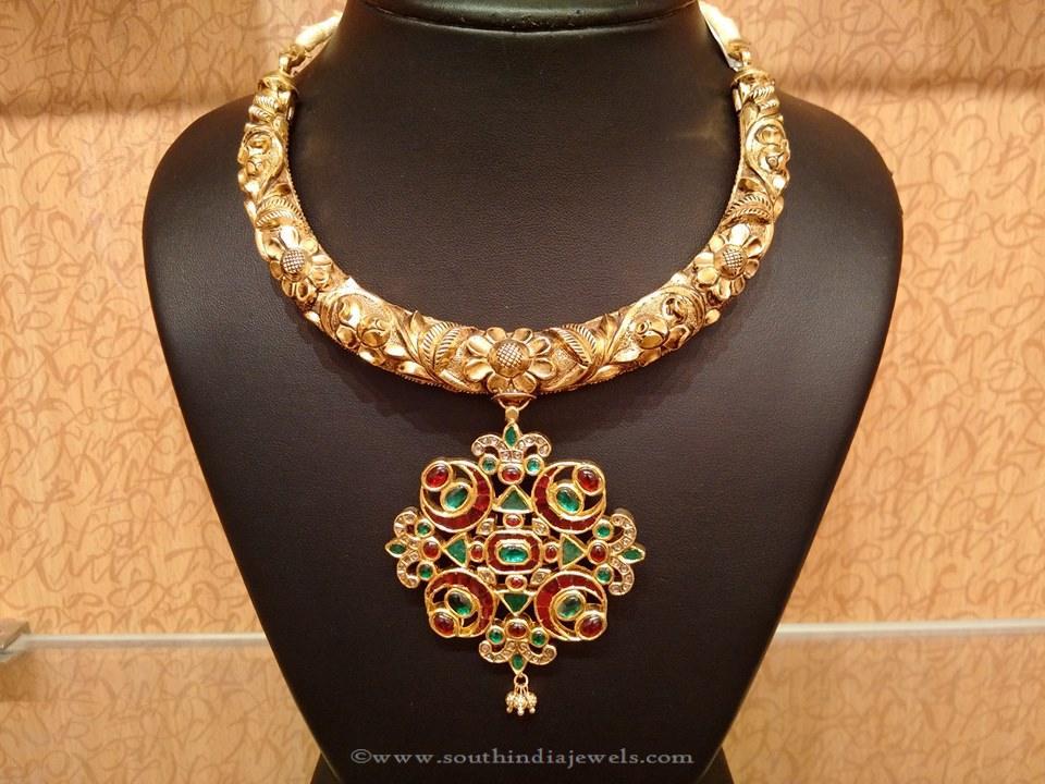 Gold Nakshi Work Kanti Necklace