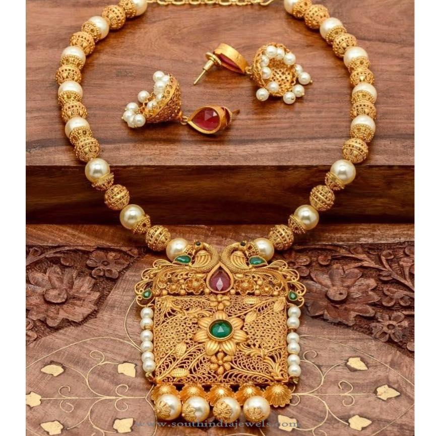 a77daec4b3 One Gram Gold Plated Necklace with Jhumka ~ South India Jewels