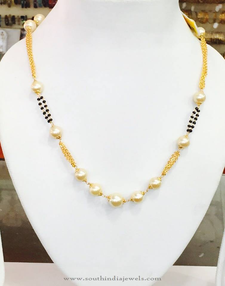 Short Pearl Chain Necklace from Amithi
