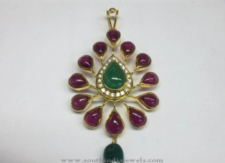 Elegant Uncut Ruby Emerald Pendant