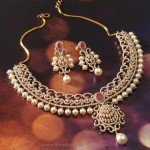 Gold Diamond Pearl Necklace From Manubhai