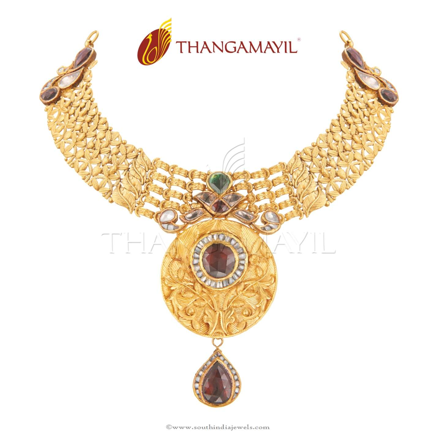 22 carat antique gold necklace from thangamayil jewellery south 22 carat antique gold necklace from thangamayil jewellery aloadofball Image collections