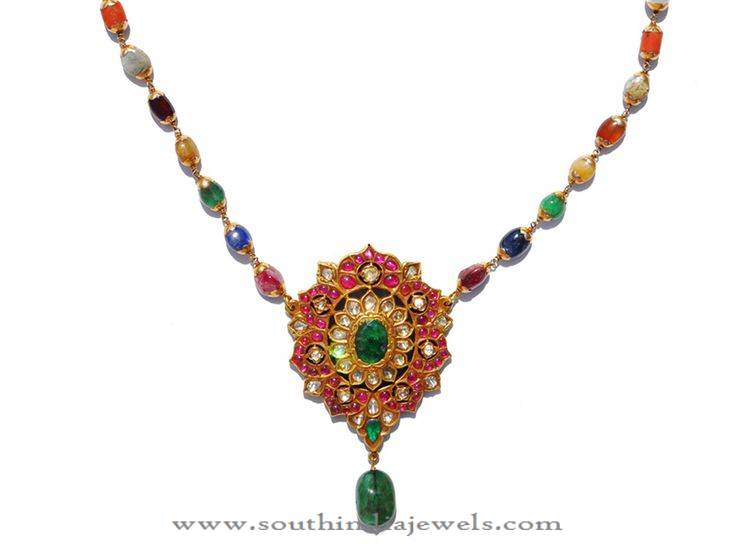 Gold Navarathan Necklace frm Karni Jewellers