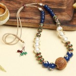 Beautiful Blue Beaded Necklace from Indiaroots