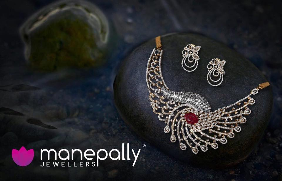 Designer Diamond Choker With Earrings from Manepally