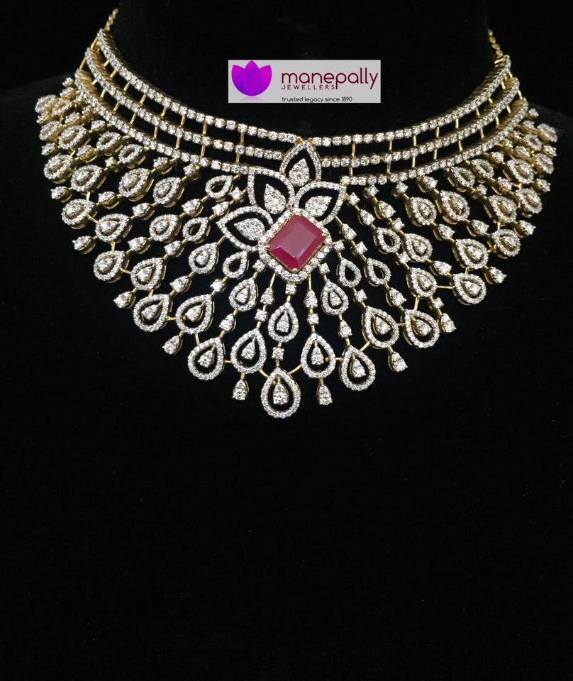 Diamond Choker Necklace From Manepally Jewellers