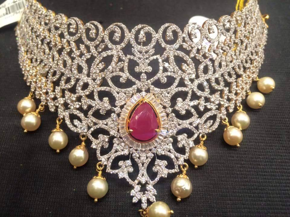 Diamond Choker With Pearls and Rubies
