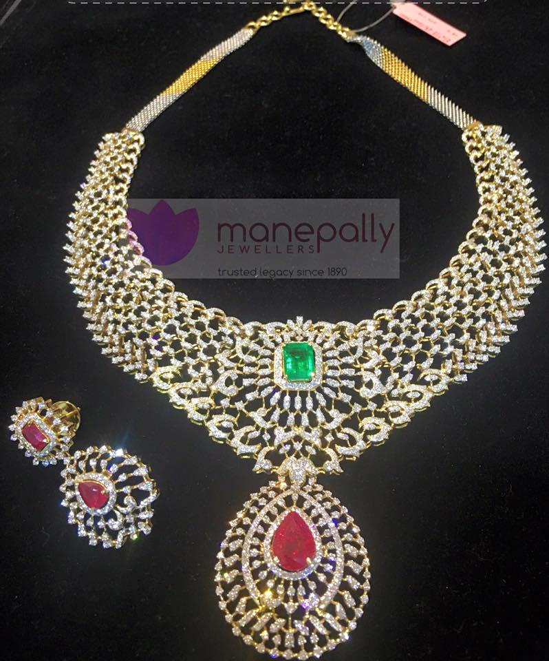 Designer Diamond Necklace From Manepally Jewellery South India