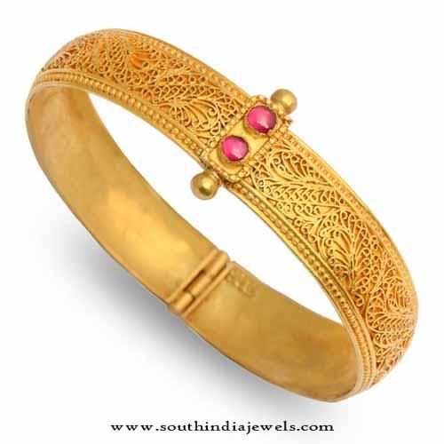22K Gold Adjustable Antique Bangle