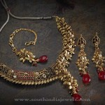 Gold Designer Floral Necklace Set
