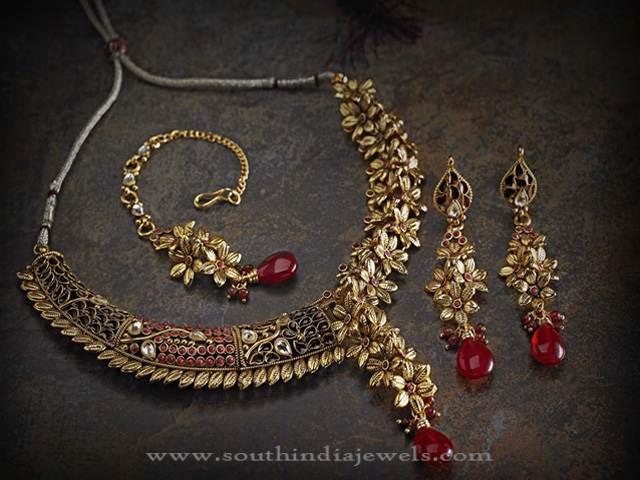 Gold Designer Floral Necklace Set