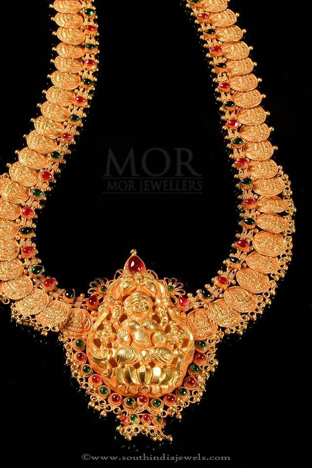 Gold Lakshmi Haram From Mor Jewellers
