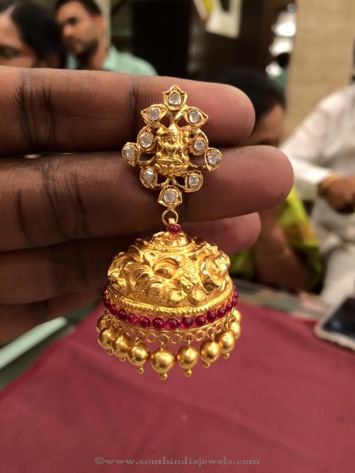 22K Gold Latest Temple Jhumka