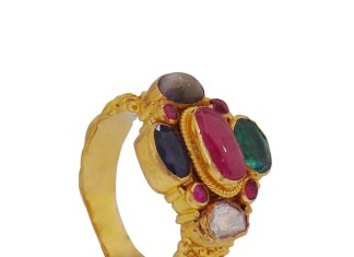 Gold Navarathna Ring Design From Prince Jewellery