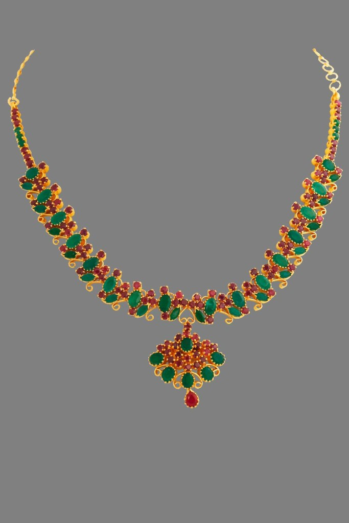 Gold Ruby Emerald Necklace from Lalithaa Jewellery