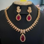 Gold Plated Designer Ruby Necklace Set