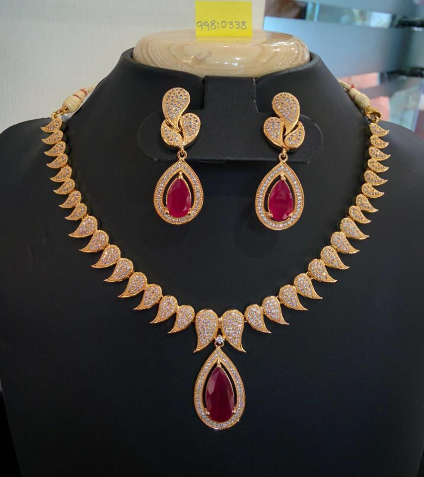 Gold Plated Designer Ruby Necklac Set