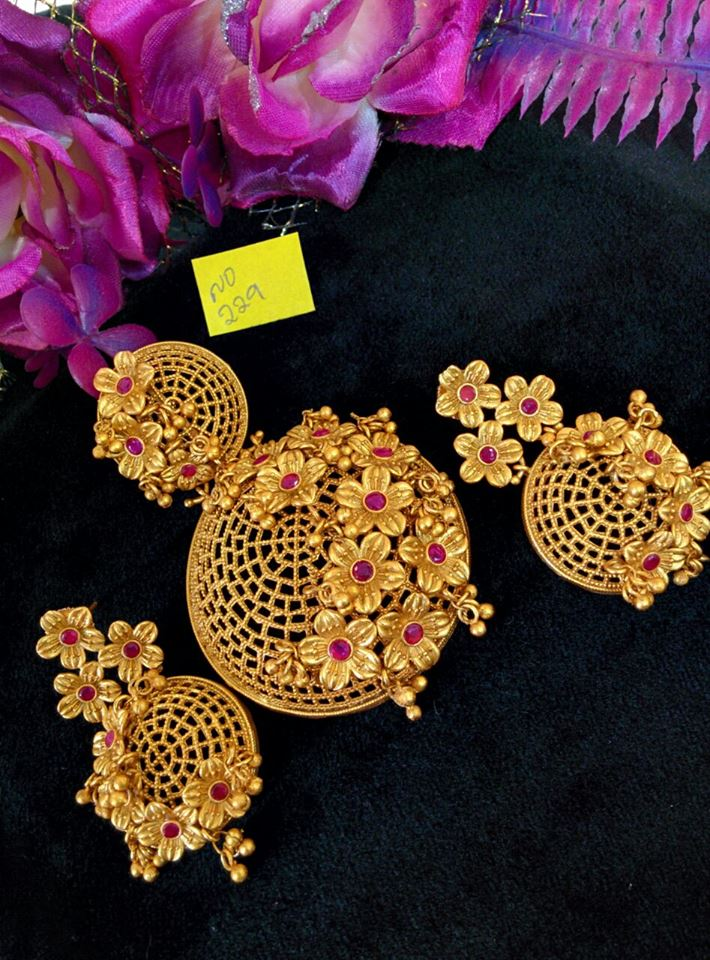 Gold plated floral designer pendant set south india jewels gold plated floal designer pendant set aloadofball Images