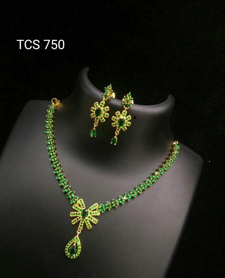 pin gold necklace gram designs one plated stone green imitation