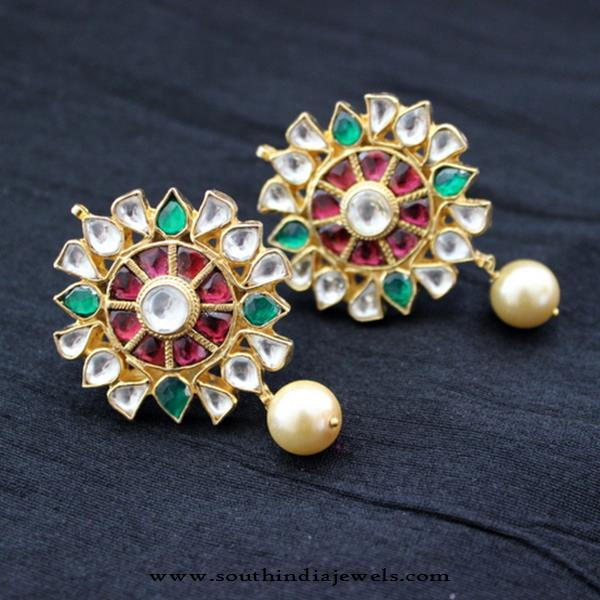Gold Plated Kundan Ear Stud from Aatman
