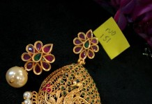Gold Plated Peacock Pendant Set from Temple Collections