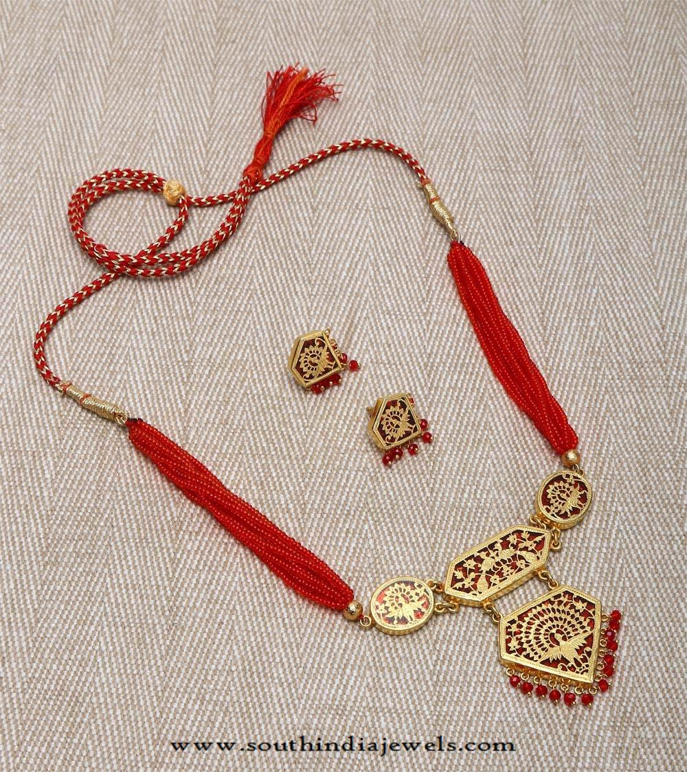 Gold plated silver necklace south india jewels gold plated silver necklace aloadofball Gallery