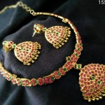 Gold Plated Ruby Attigai From Temple Collections