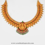Gold Temple Jewellery Designs : Lakshmi Necklace