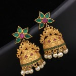 Imitation Antique Green Stone Jhumka