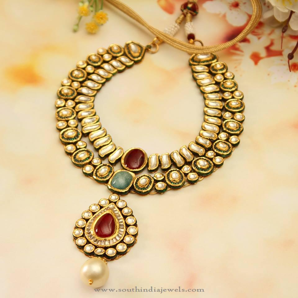 North Indian Gold Kundan Choker Necklace Set