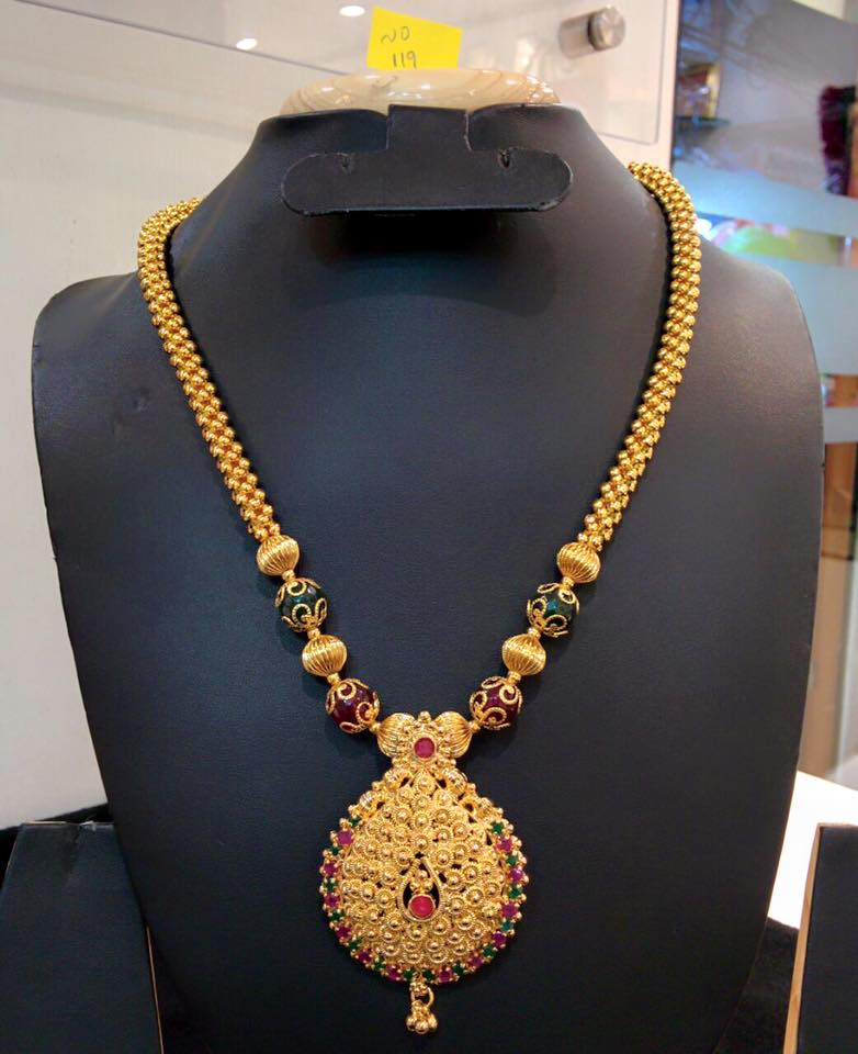 One gram gold long chain south india jewels one gram gold long chain mozeypictures Image collections