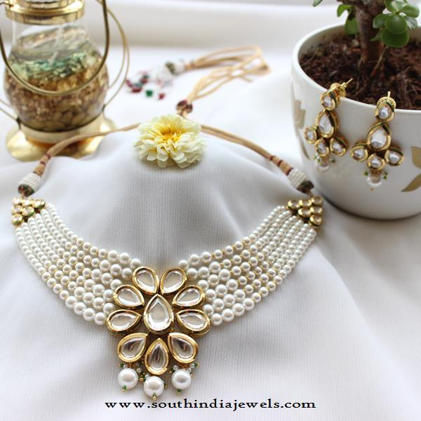 Pearl Kundan Choker Necklace Set