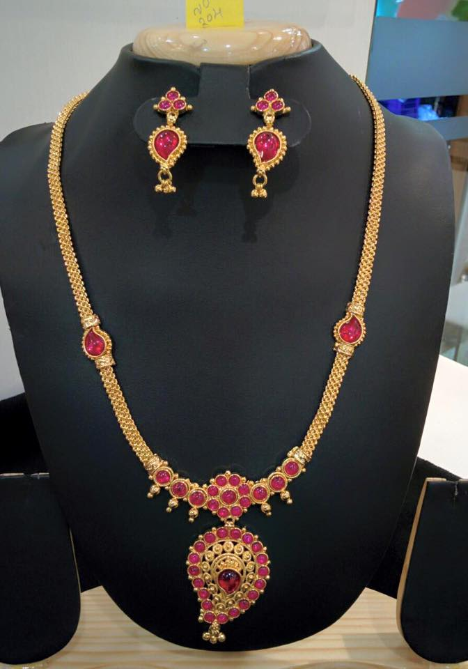 Imitation Ruby Long Chain Necklace with Earrings