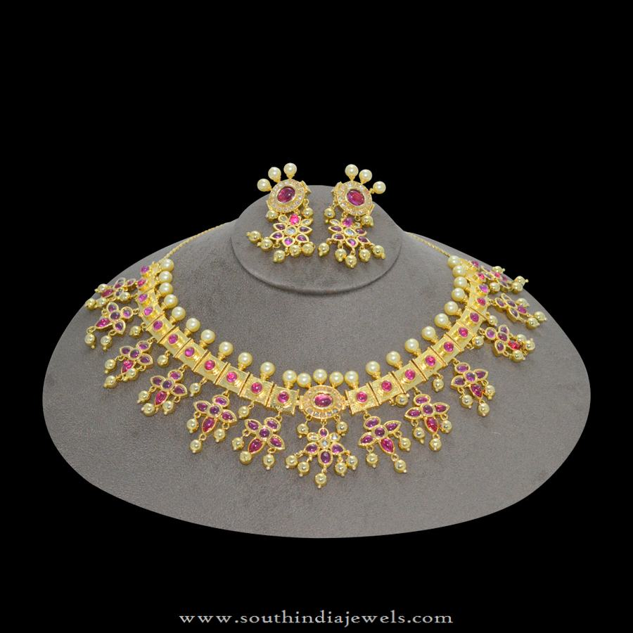 1gm gold plated Guttapusalu Necklace with Price