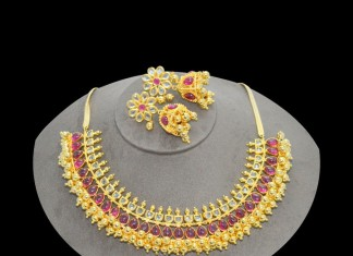 1gm Gold Ruby Choker Necklace with Jhumka