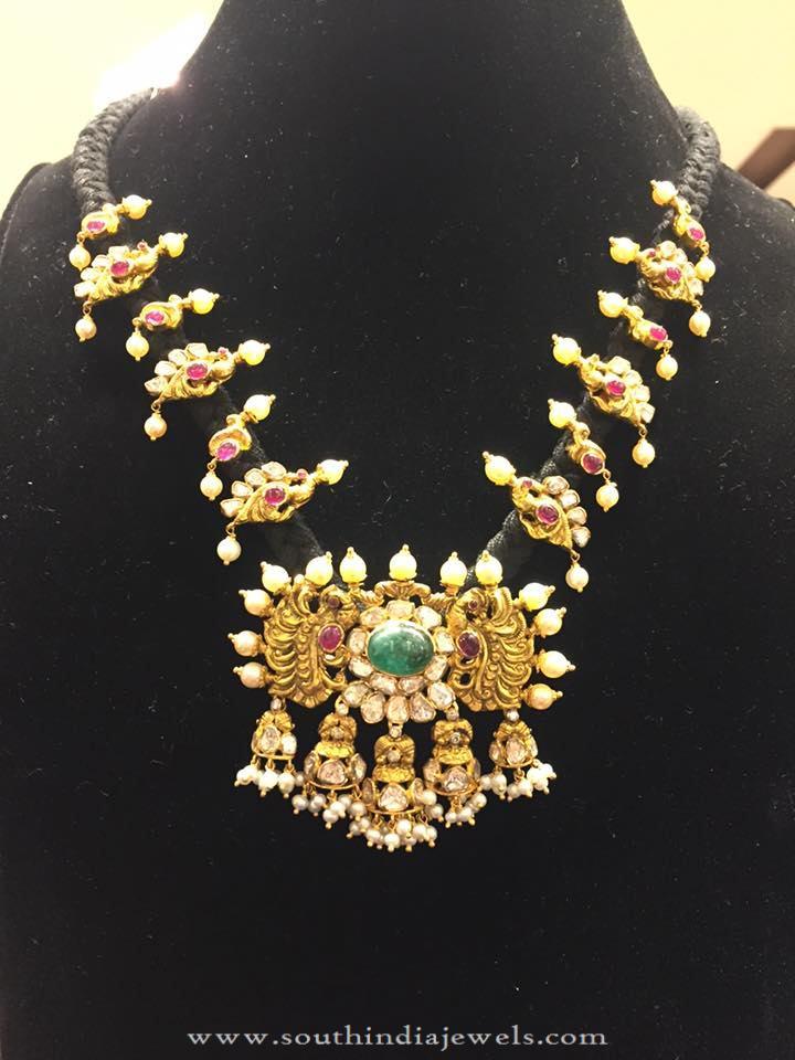 Gold Antique Black Thread Necklace