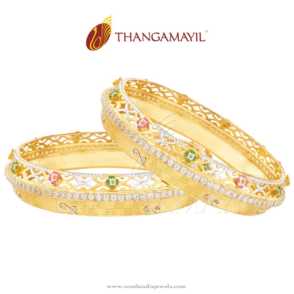 22k Gold Broad Stone Bangle Set From Thangamayil Jewellery