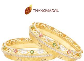 22k Gold Broad Stone Bangle Set From Thangamayil Jewellery
