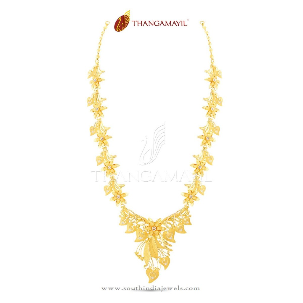 22K Gold Indian Floral Necklace Design