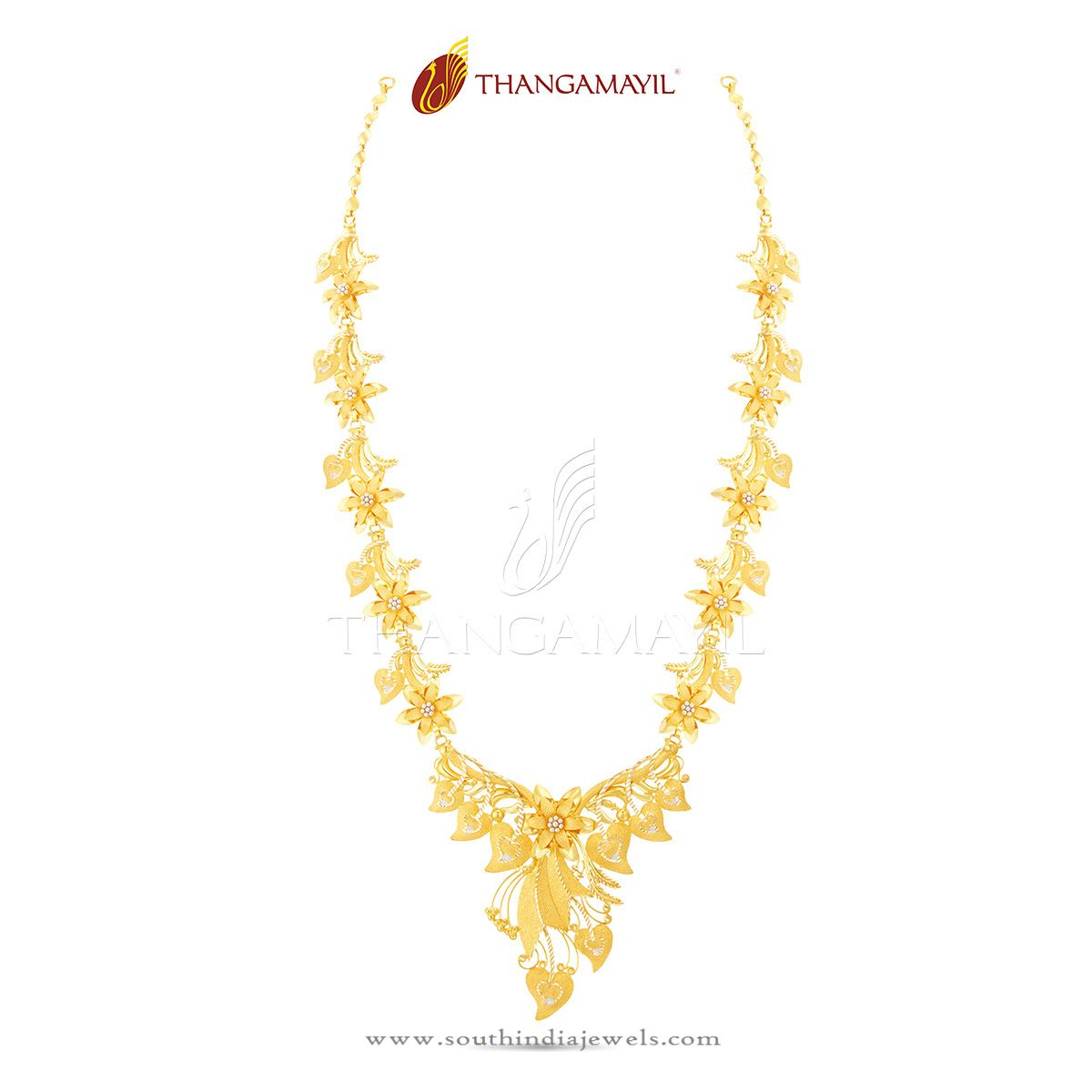 22K Gold Indian Floral Necklace Design ~ South India Jewels