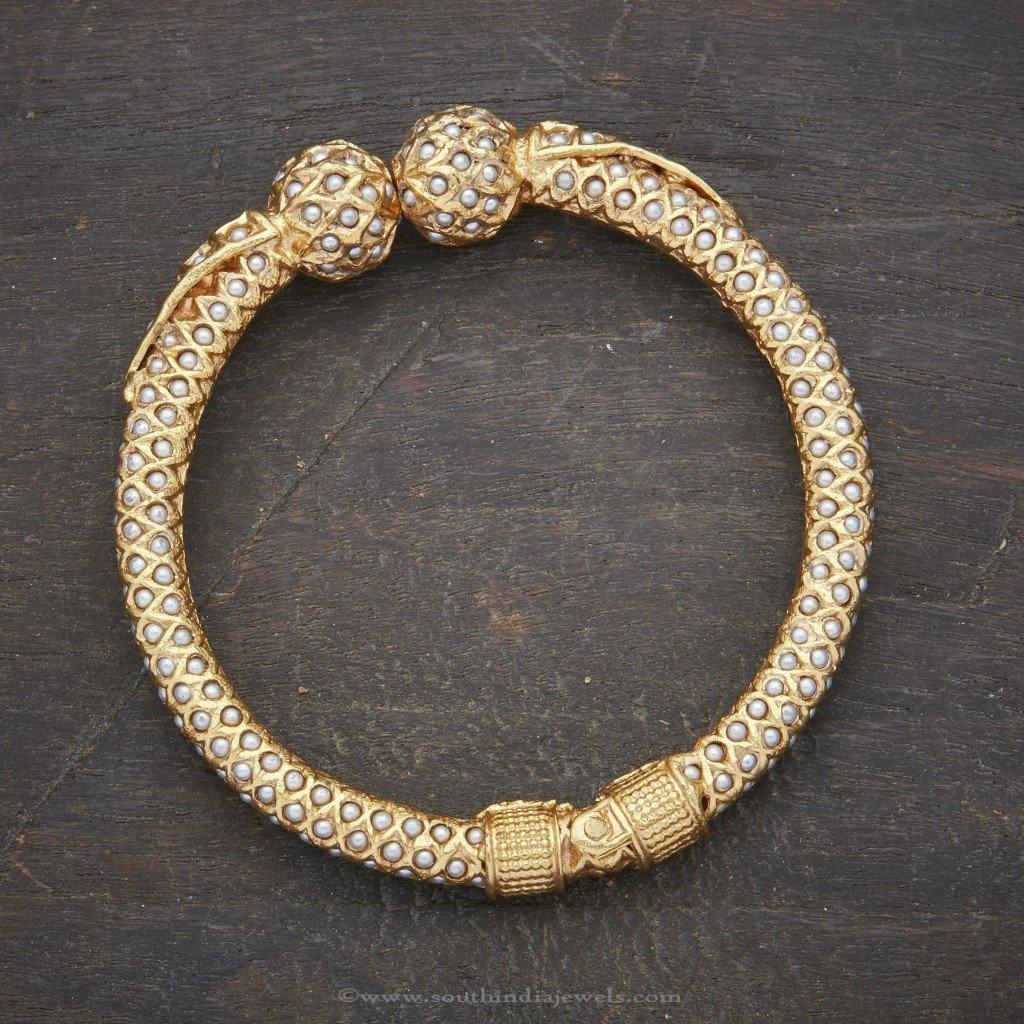 24 Carat Gold Plated Pearl Kada Bangle