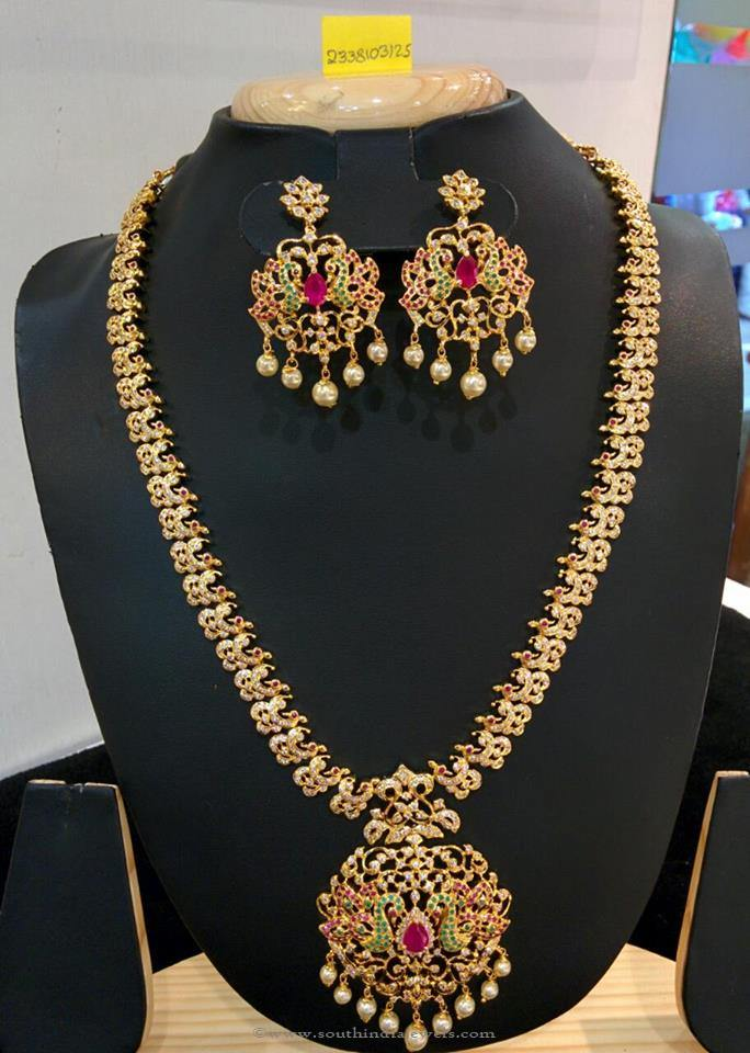 American Diamond Stone Necklce set from Vanathi